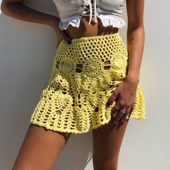 Ажурная жёлтая юбка