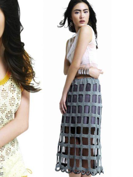 Необычная вязаная юбка