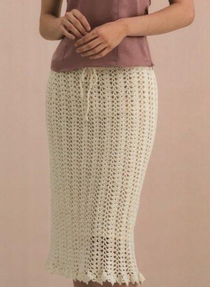 вязаная юбка-футляр