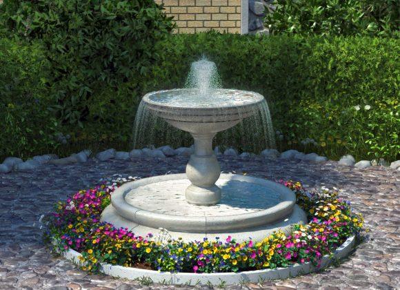 Цветочный бордюр вокруг фонтана