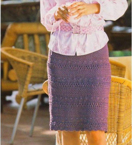 Прямая юбка крючком