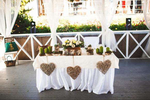 Украшение свадебного стола в эко-стиле