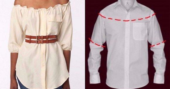 Блузка на плечах из мужской рубашки