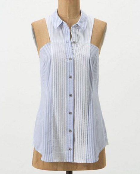 Блузка без рукавов из мужской рубашки