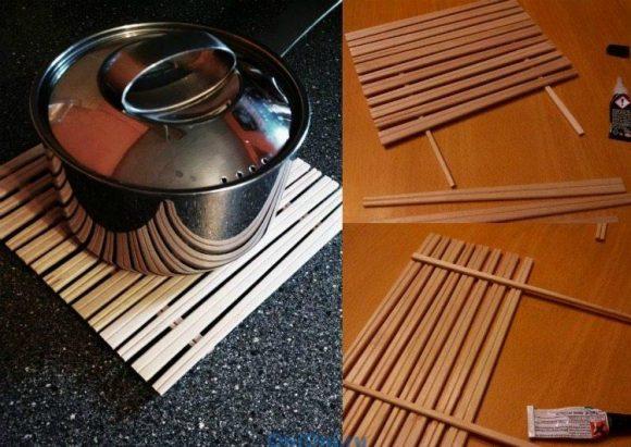 Подставка под горячее из палочек для суши