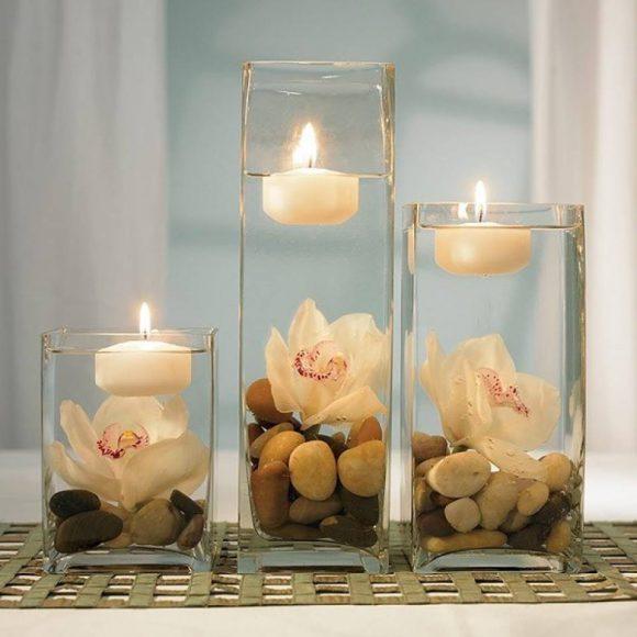 Плавающая свеча в вазе