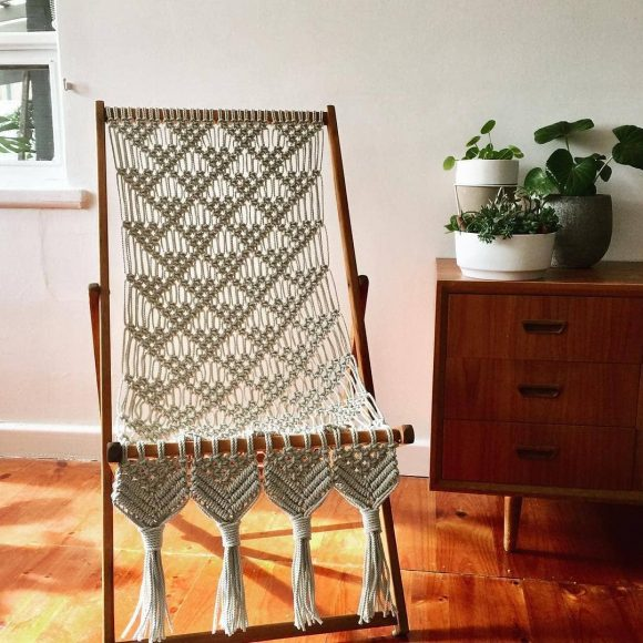 Кресло макраме напольное с каркасом